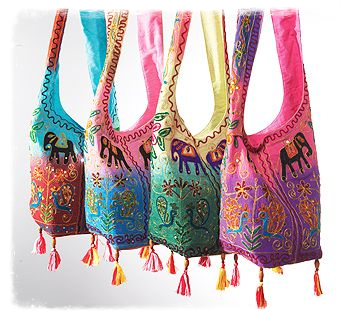Elephant Peacock Tie Dye Embroidered Shoulder Bag
