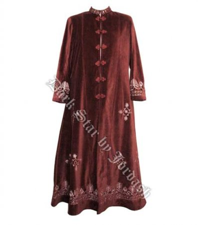 Hippy Coats~Gothic Hippy Long Velvet Coat Mirrored and Embroidered Full-Length Velour Jacket~Fair Trade by Folio~JD/JK/6099