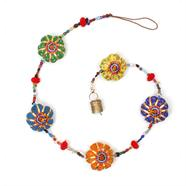 Indian Fabric Flowers with Beads & Bell